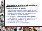 questions and considerations16