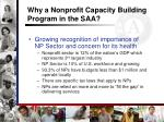 why a nonprofit capacity building program in the saa4