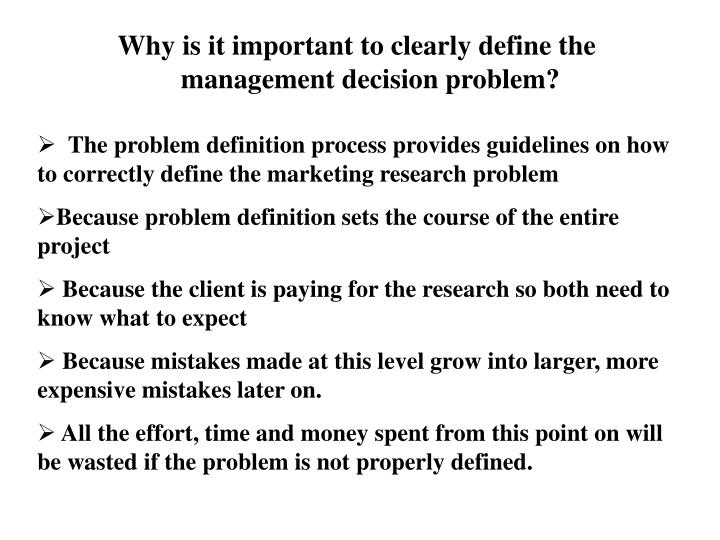 management decision problem and marketing research problem