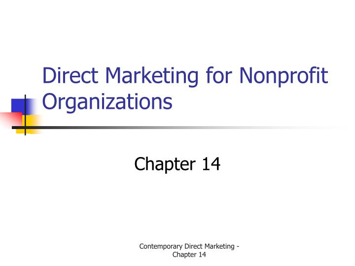 direct marketing for nonprofit organizations n.