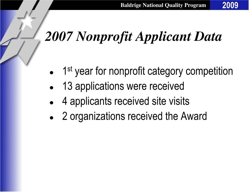 2007 Nonprofit Applicant Data