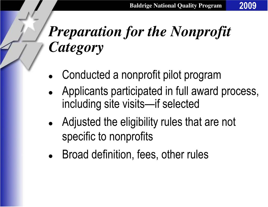 Preparation for the Nonprofit Category