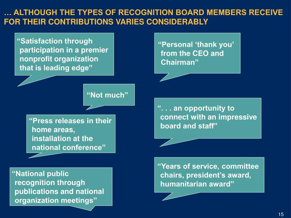 … ALTHOUGH THE TYPES OF RECOGNITION BOARD MEMBERS RECEIVE FOR THEIR CONTRIBUTIONS VARIES CONSIDERABLY