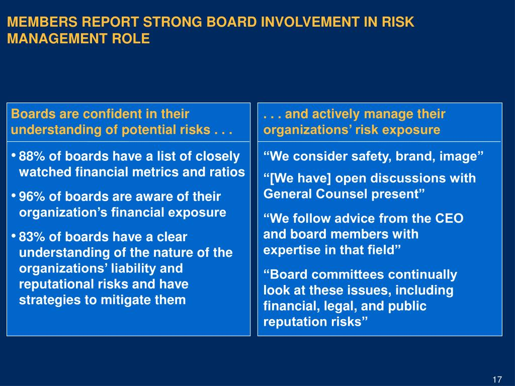 . . . and actively manage their organizations' risk exposure