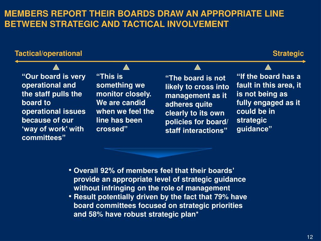 MEMBERS REPORT THEIR BOARDS DRAW AN APPROPRIATE LINE BETWEEN STRATEGIC AND TACTICAL INVOLVEMENT