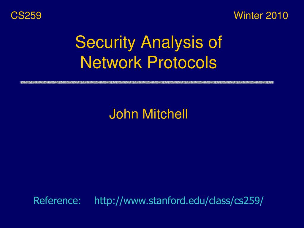 security analysis of network protocols l.
