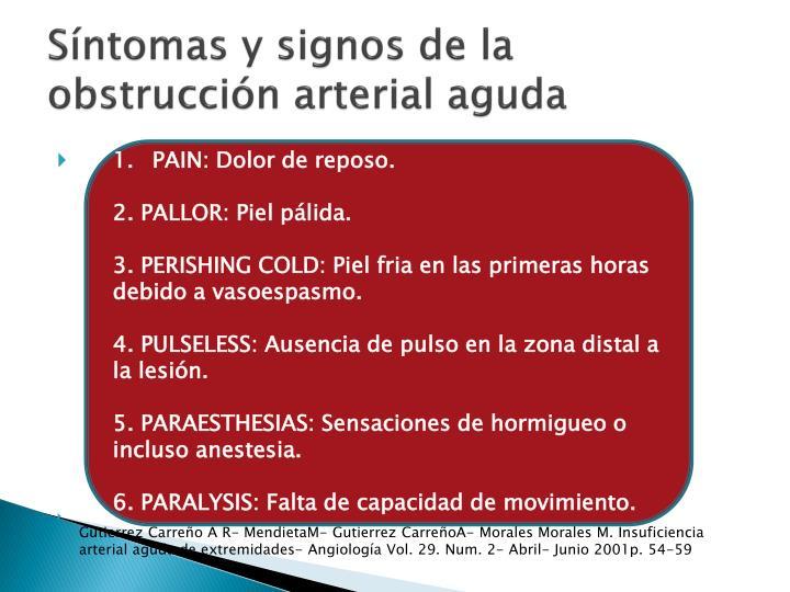 Síntomas y signos de la obstrucción arterial aguda