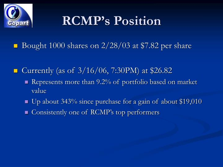 Rcmp s position