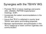 synergies with the tb hiv wg