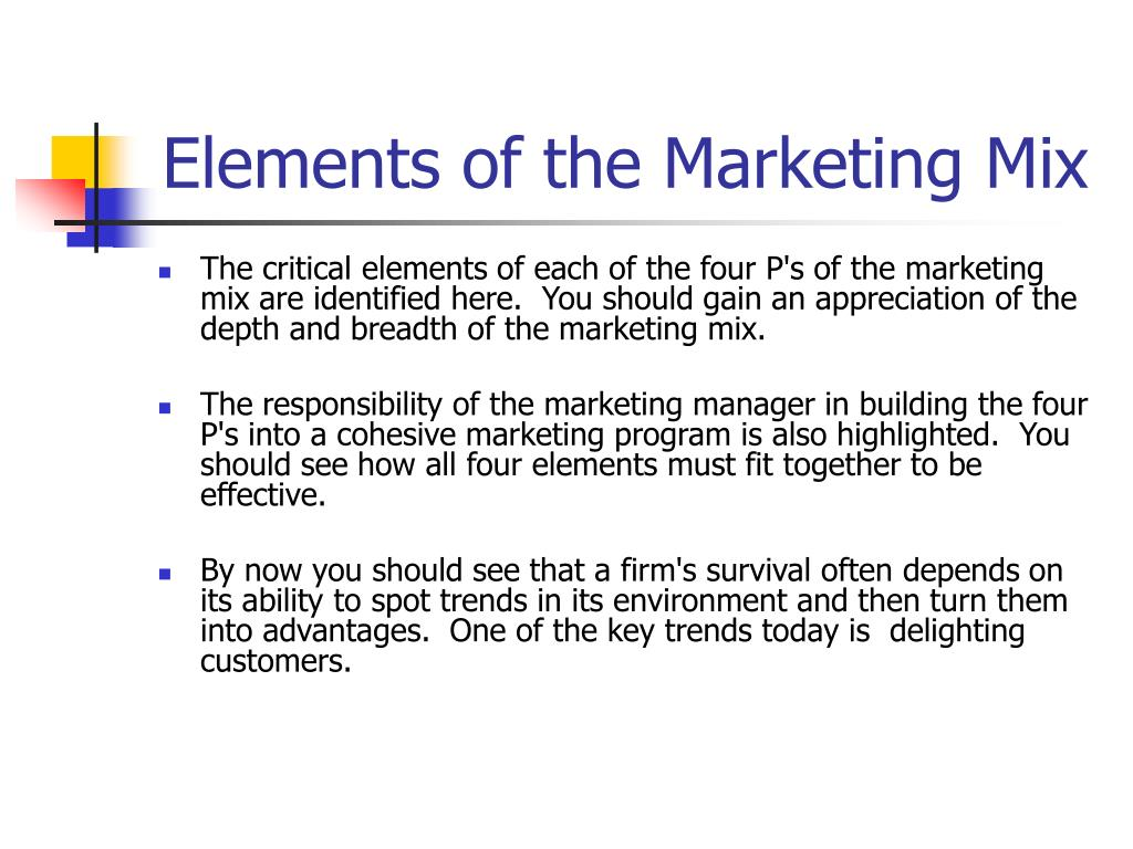Elements of the Marketing Mix