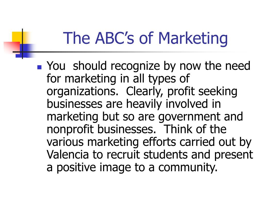 The ABC's of Marketing