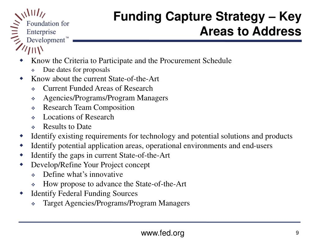 Funding Capture Strategy – Key Areas to Address