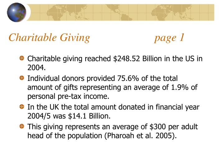 Charitable giving page 1