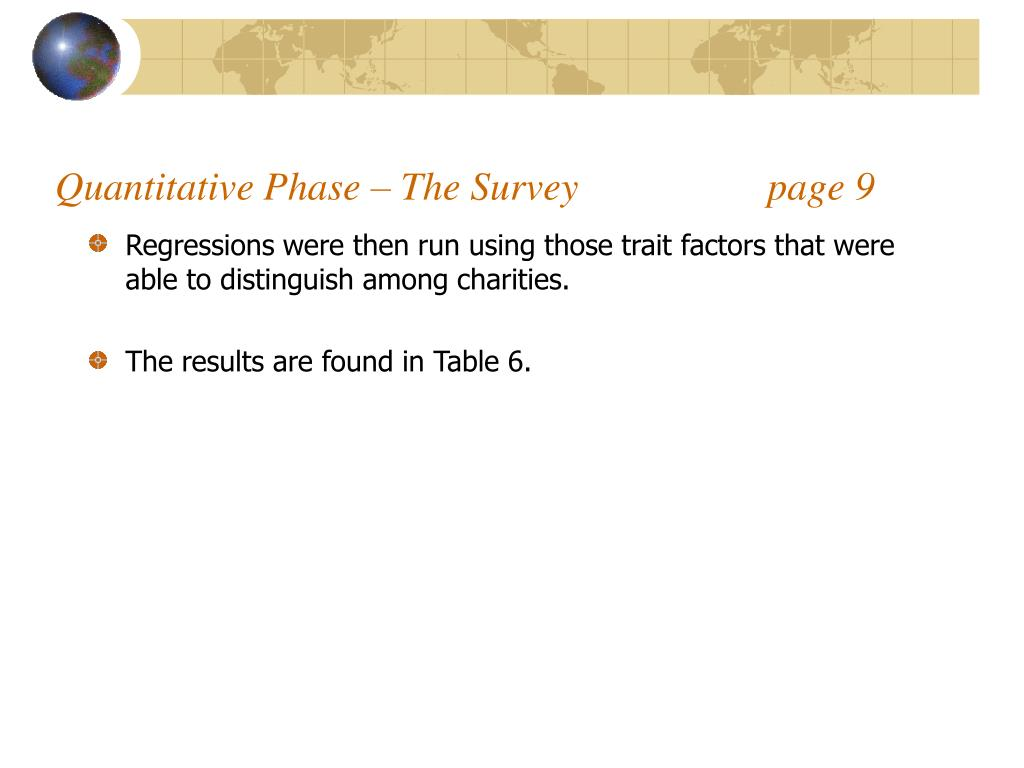 Quantitative Phase – The Survey                   page 9