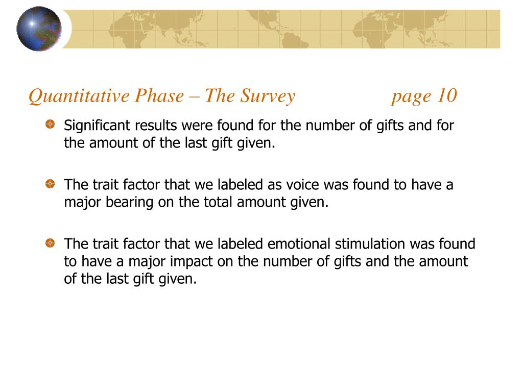 Quantitative Phase – The Survey                   page 10