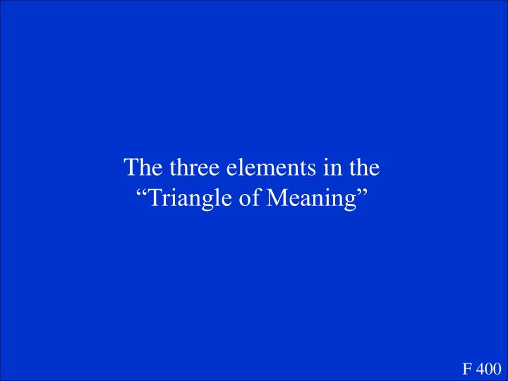 """The three elements in the """"Triangle of Meaning"""""""