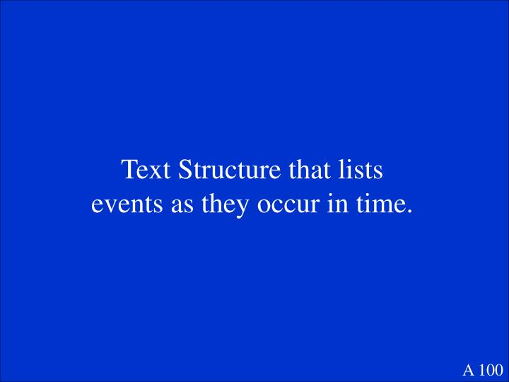 Text Structure that lists events as they occur in time.