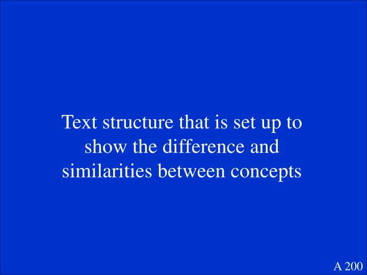 Text structure that is set up to show the difference and similarities between concepts