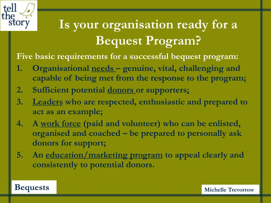 Is your organisation ready for a Bequest Program?