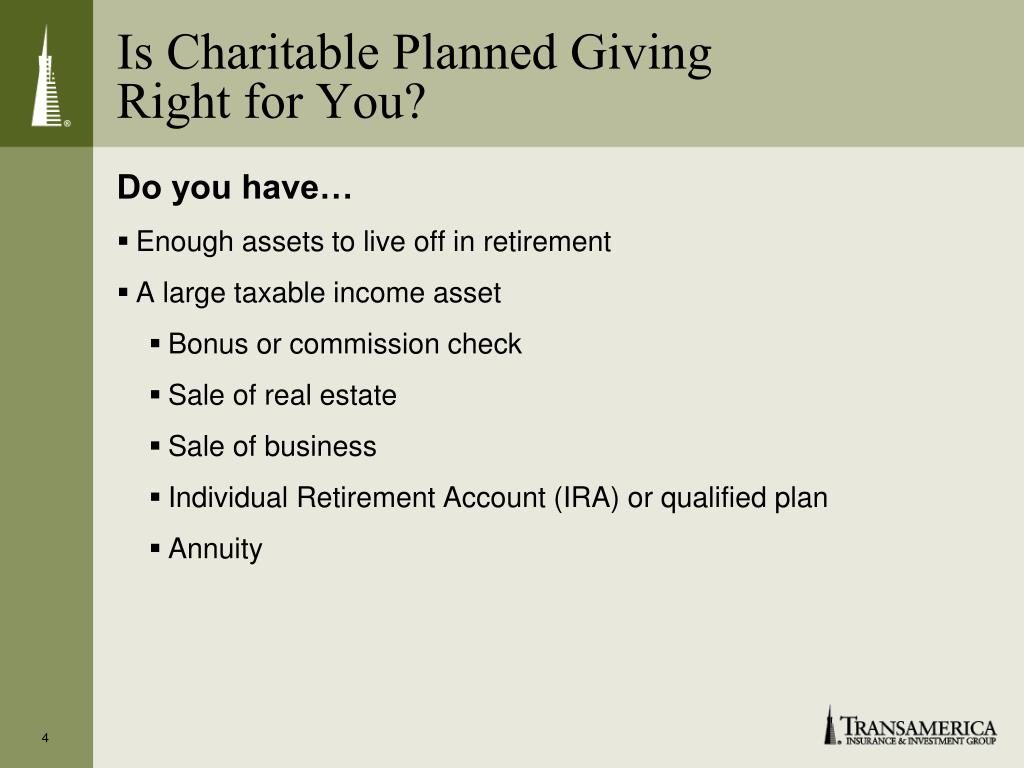 Is Charitable Planned Giving