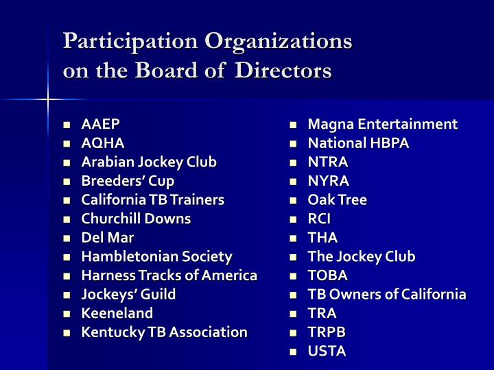 Participation organizations on the board of directors