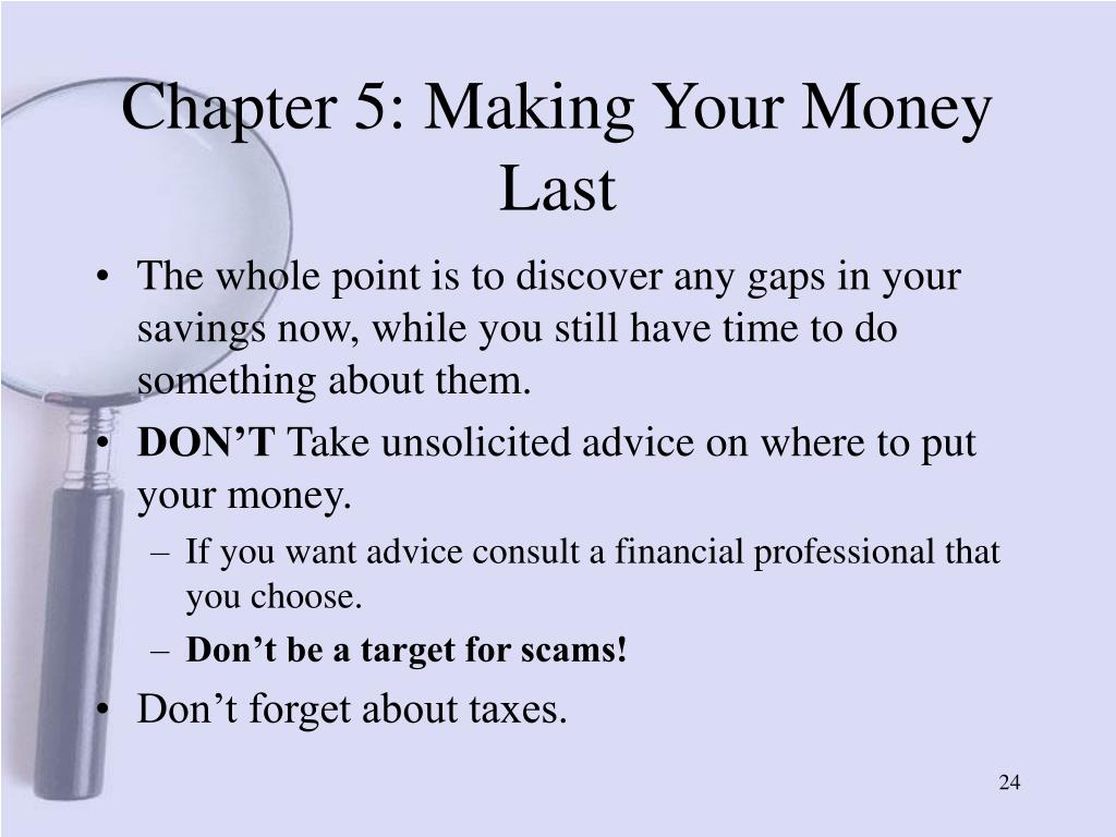 Chapter 5: Making Your Money Last