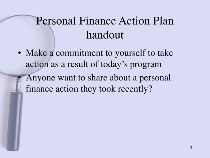 Personal finance action plan handout