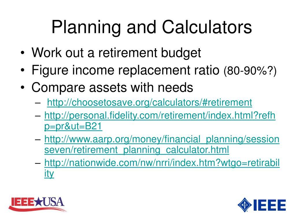 Planning and Calculators