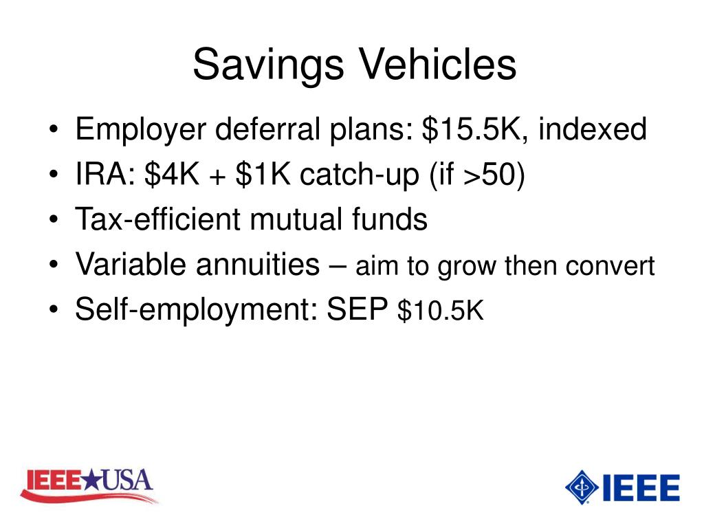 Savings Vehicles