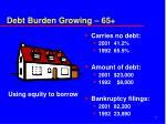 debt burden growing 65