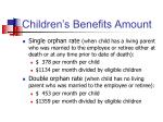 children s benefits amount