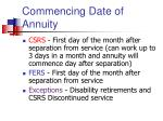 commencing date of annuity