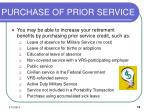 purchase of prior service