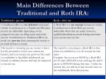 main differences between traditional and roth ira
