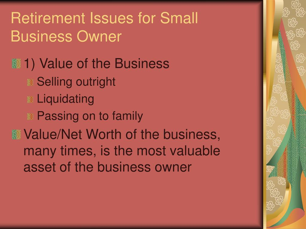retirement issues for small business owner l.