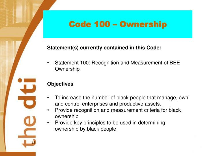 Code 100 – Ownership