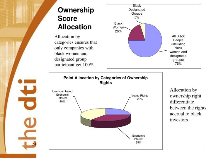 Allocation by categories ensures that only companies with black women and designated group participant get 100%.