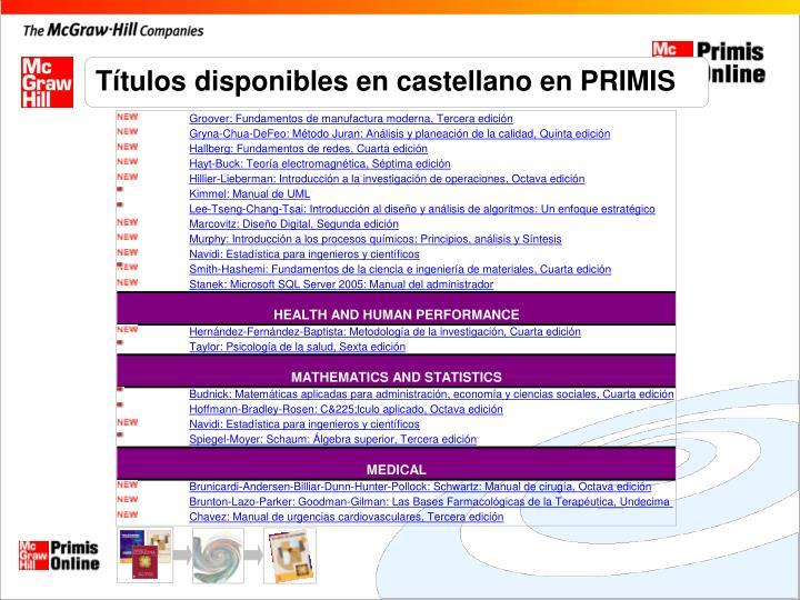 Títulos disponibles en castellano en PRIMIS