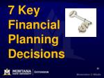 7 key financial planning decisions