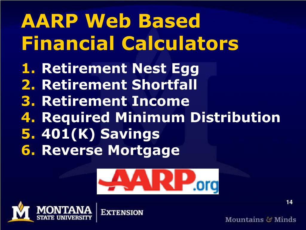 AARP Web Based Financial Calculators