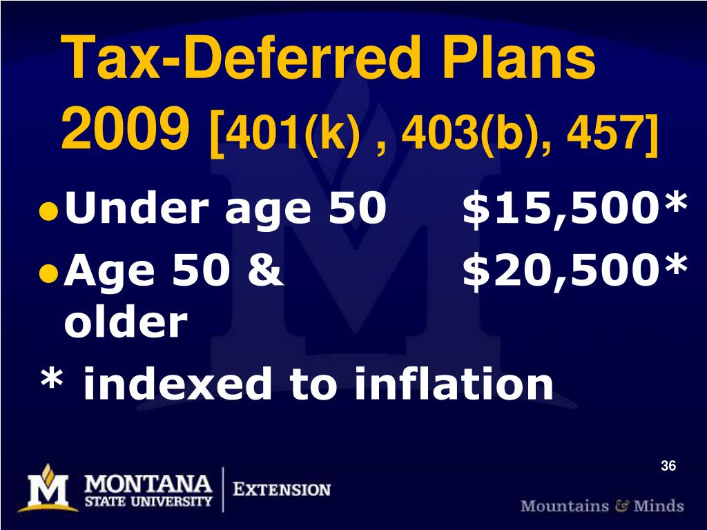 Tax-Deferred Plans 2009