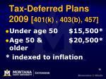 tax deferred plans 2009 401 k 403 b 457