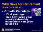 why save for retirement slide card blue
