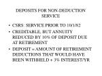 deposits for non deduction service