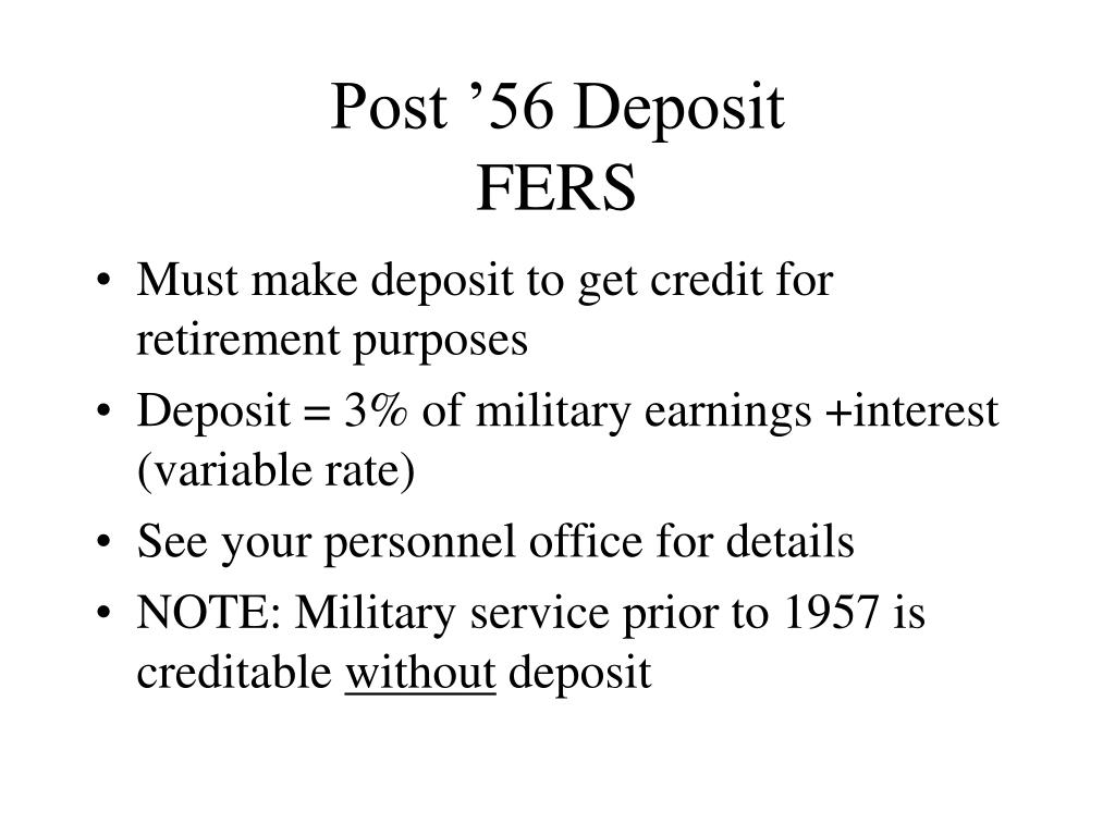 Post '56 Deposit