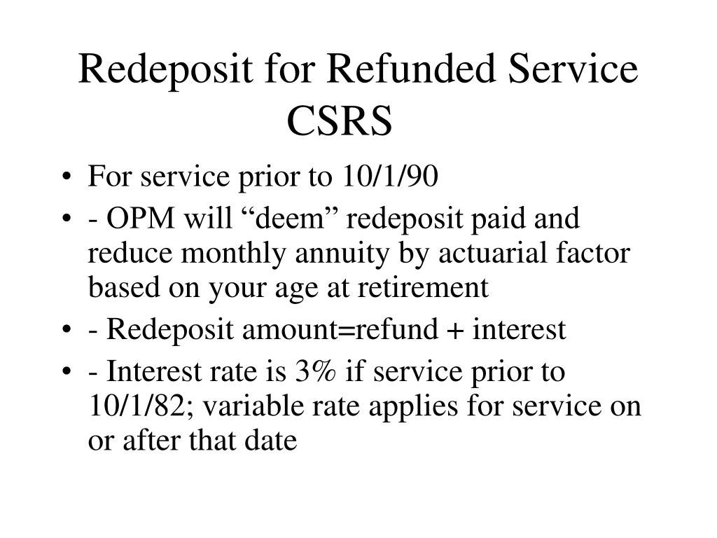 Redeposit for Refunded Service
