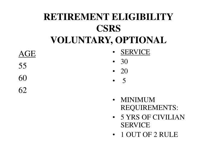 Retirement eligibility csrs voluntary optional
