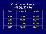 contribution limits 401 k 403 b