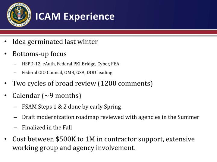 ICAM Experience