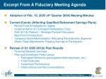 excerpt from a fiduciary meeting agenda